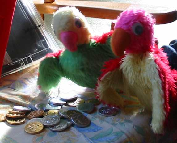 Parrots with chocolate money