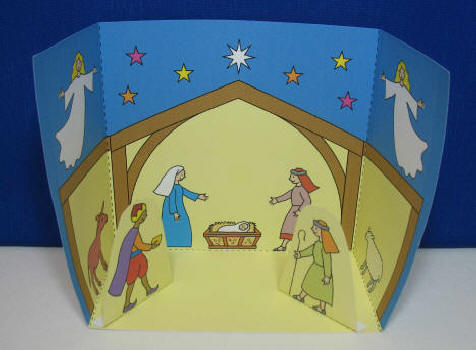 Colour and Cut Out One Page Nativity