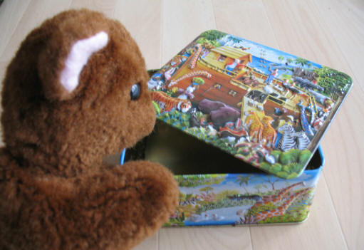Brown Teddy with Noah's Ark box