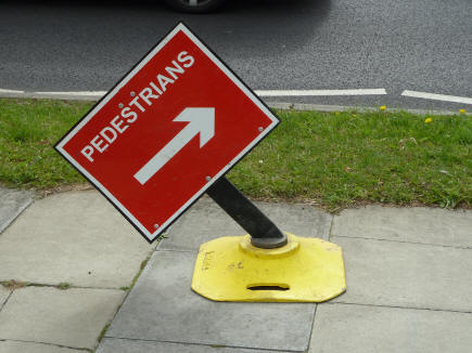Pedestrians roadworks sign