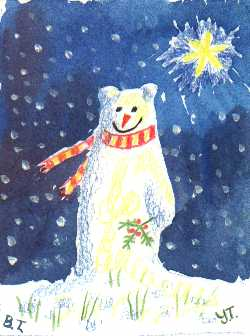 Yellow Teddy's Snow Bear painting