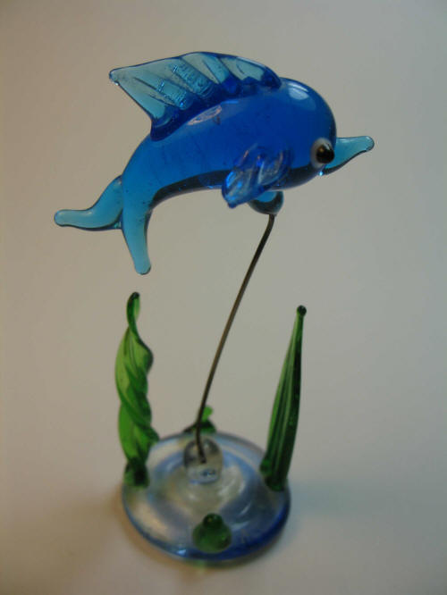 Glass fish with glass weeds